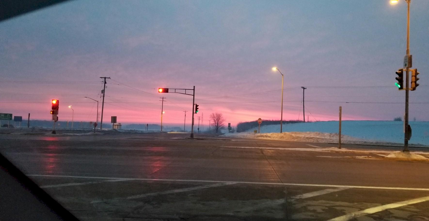 Hwy 57 in winter sunrise