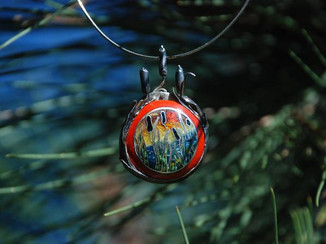 Cloisonne enameled pendant with fabricated cattail bezel