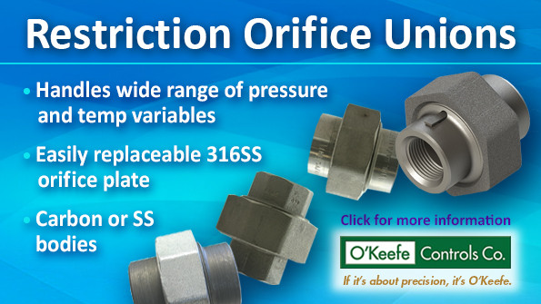 O'Keefe Controls Co. Restriction Orifice Union Digital Ad Sample