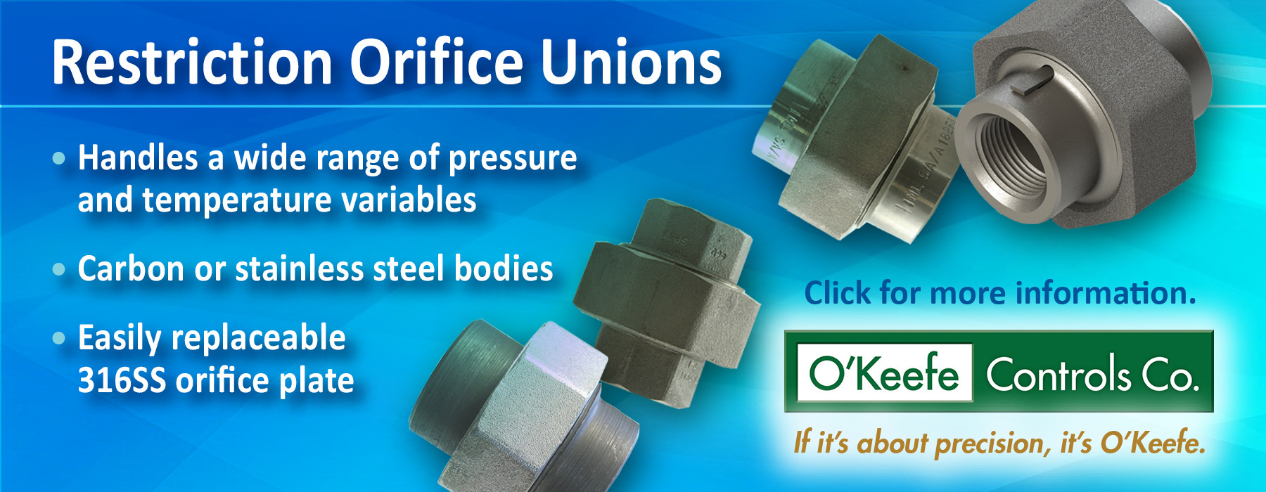 O'Keefe Controls Co. Restriction Union Orifice Digital Banner Ad Sample