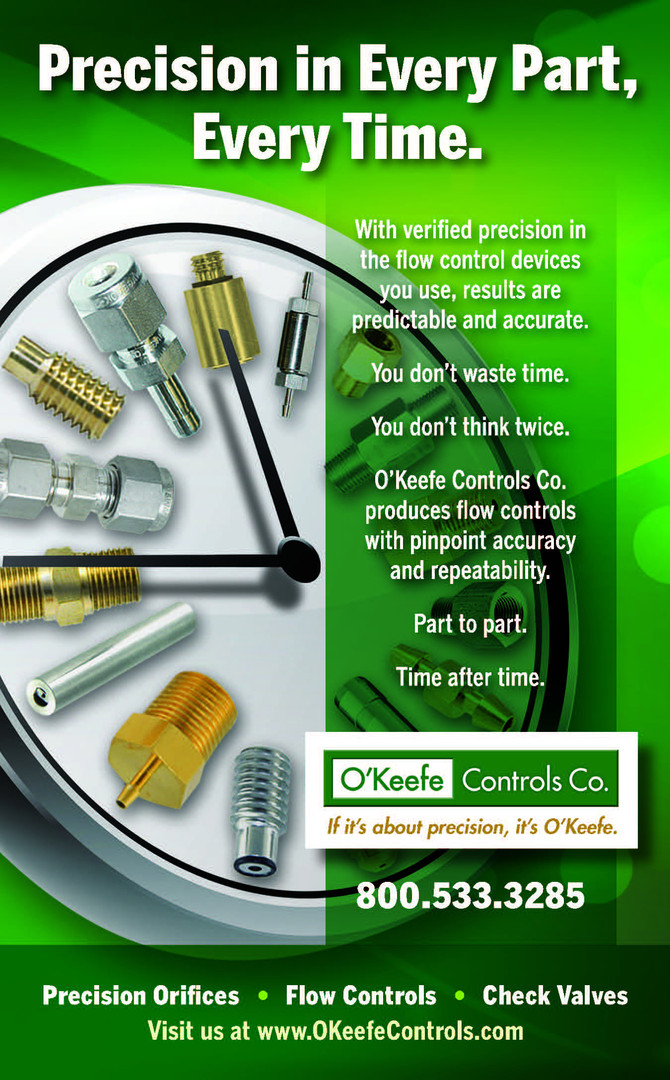 "O'Keefe Controls Co. Print Ad ""Precision Every Time"""