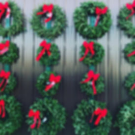 Wall of wreaths. Christmas wreaths, handmade evergreen wreaths, with red bows, all sizes, front door wreath, car grill wreath, outdoor wreath, real wreath