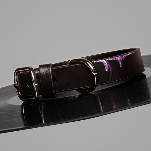DRIPPING IN PURPLE LEATHER DOG COLLAR