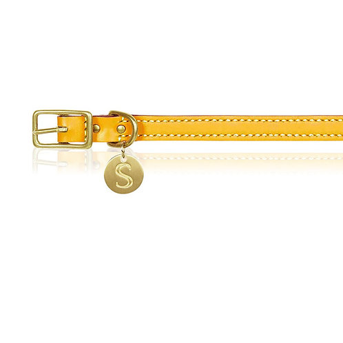 MUSTARD ITALIAN LEATHER DOG COLLAR