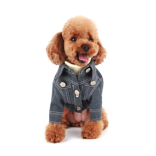 GREY SUPER STRETCH DENIM DOG JACKET