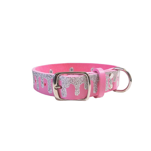 KWEEN GLITTER SPIKE LEATHER DOG COLLAR