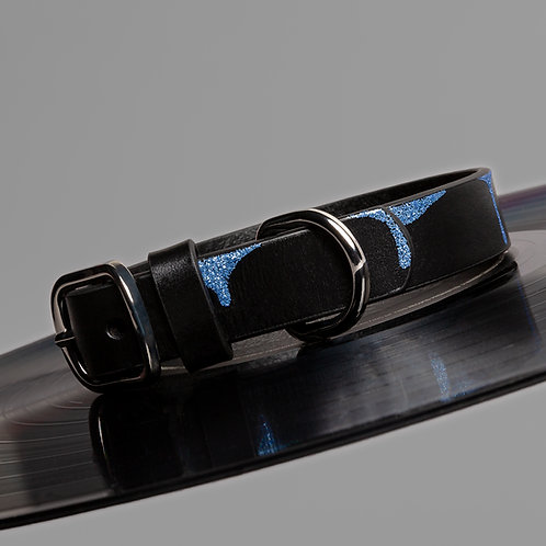 DRIPPING IN BLUE LEATHER DOG COLLAR