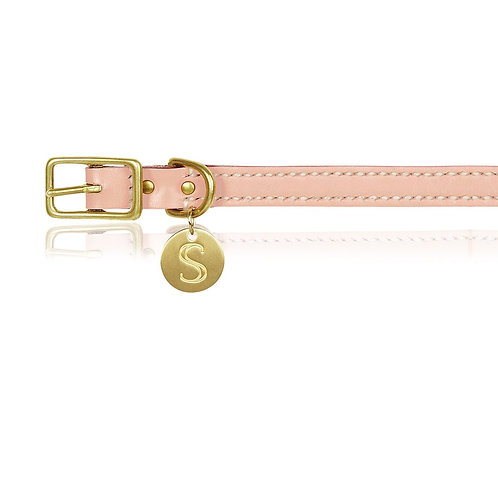 SOFT PINK ITALIAN LEATHER DOG COLLAR