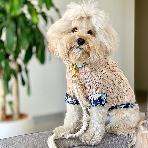 OAT MERINO WOOL CABLE KNIT DOG SWEATER