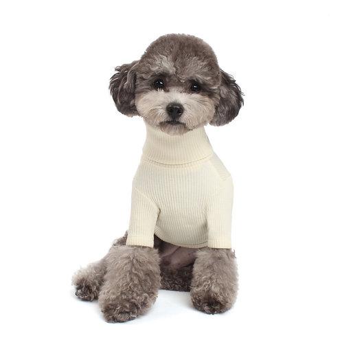IVORY BASIC TURTLENECK DOG SWEATER