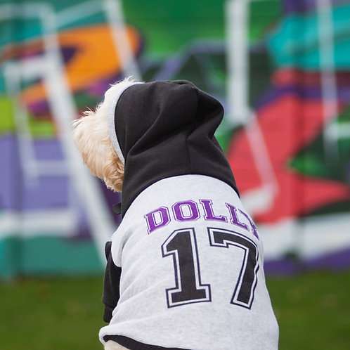 GREY/BLACK VARSITY CUSTOM DOG HOODIE