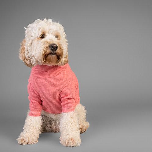 PINK BASIC TURTLENECK DOG SWEATER