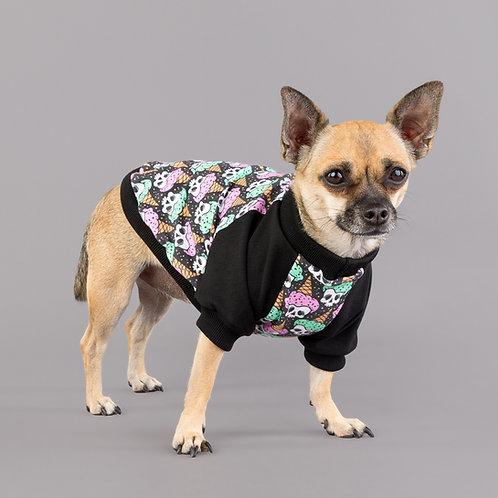 Chihuahua wearing gothic ice cream dog top called ice scream