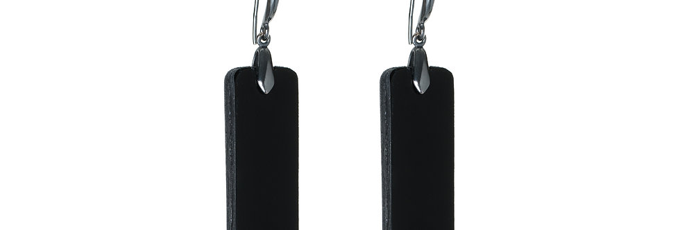 geometrical leather earrings black andron