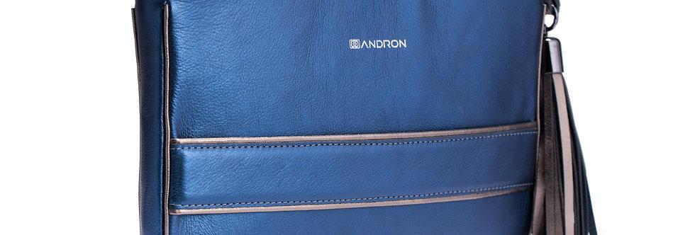 small handbag, tassel, fashion party bag, leather, dark blue, Andron