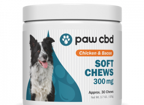 Pet CBD Soft Chews for Dogs - Chicken & Bacon - 300 mg - 30 Count