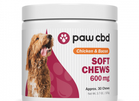 Pet CBD Soft Chews for Dogs - Chicken & Bacon - 600 mg - 30 Count