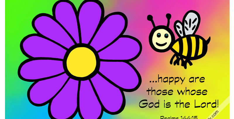 Bee and Flower - Psalms 144:15 (Canvas)