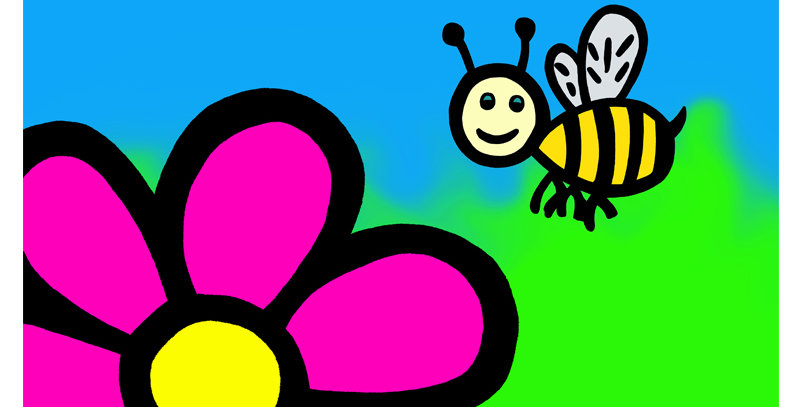 Bee and Flower (Canvas)