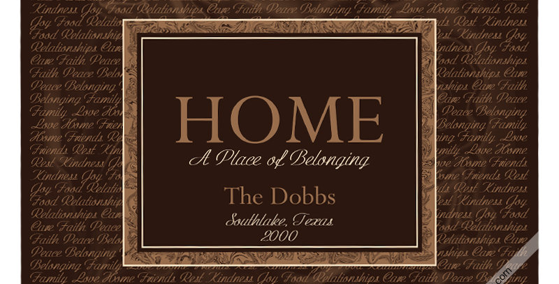 *Personalized* - HOME A Place of Belonging (Canvas)