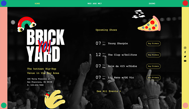 Events website templates – Hip Hop Venue