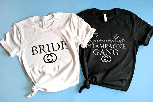 Champagne Gang Bachelorette Shirts | Designer Inspired