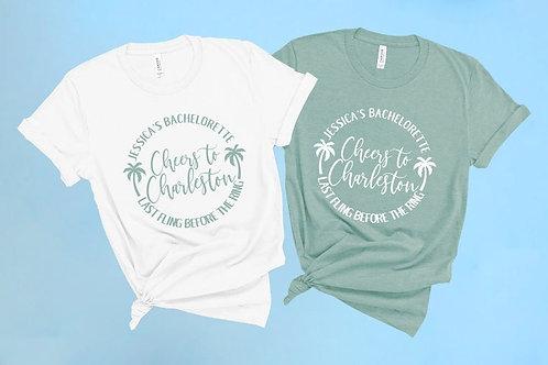 Customizable Cheers to Charleston Bachelorette Shirts | Palm Theme