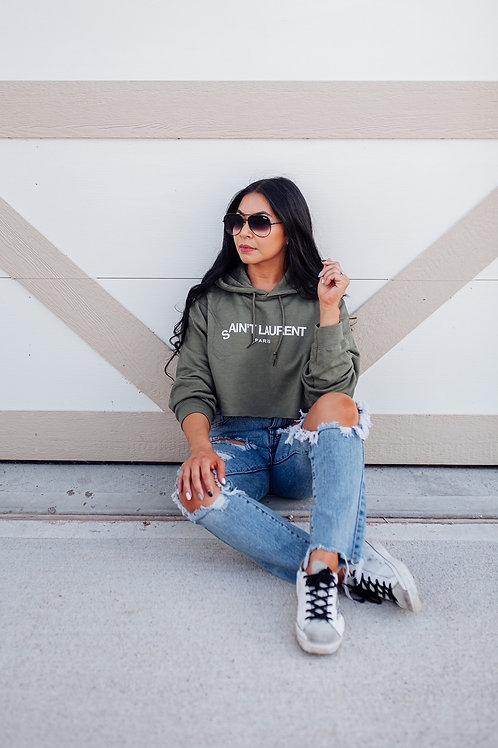 Designer Inspired Cropped Hoodie | Ain't Laurent | Blogger Roselyn Wea