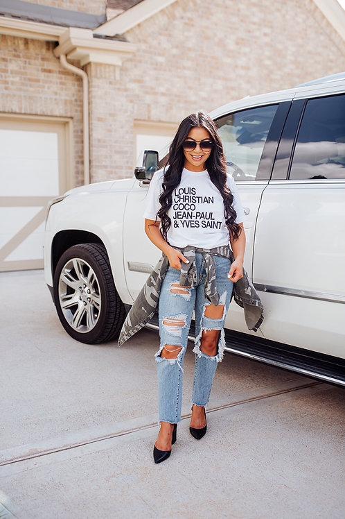 Designer Inspired Tshirt   French Names   Blogger Roselyn Weaver