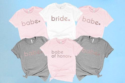 Bride's Babes Bachelorette Shirts. Babe of Honor Shirt.