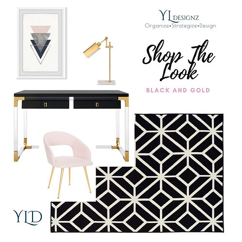 SHOP THE LOOK BLACK AND GOLD OFFICE DESIGN