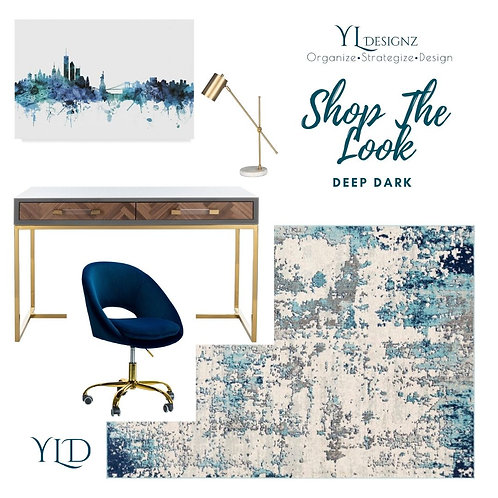 SHOP THE LOOK-DEEP DARK OFFICE DESIGN