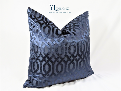 Navy Lux Throw Pillow Cover