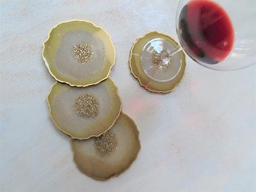Regal Gold Geode Coaster Set