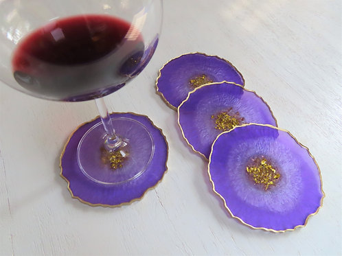Purple Crown Jewel Geode Coaster Set