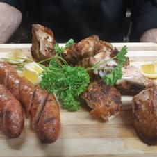 Portuguese BBQ CHICKEN AND SAUSAGE PLATTER