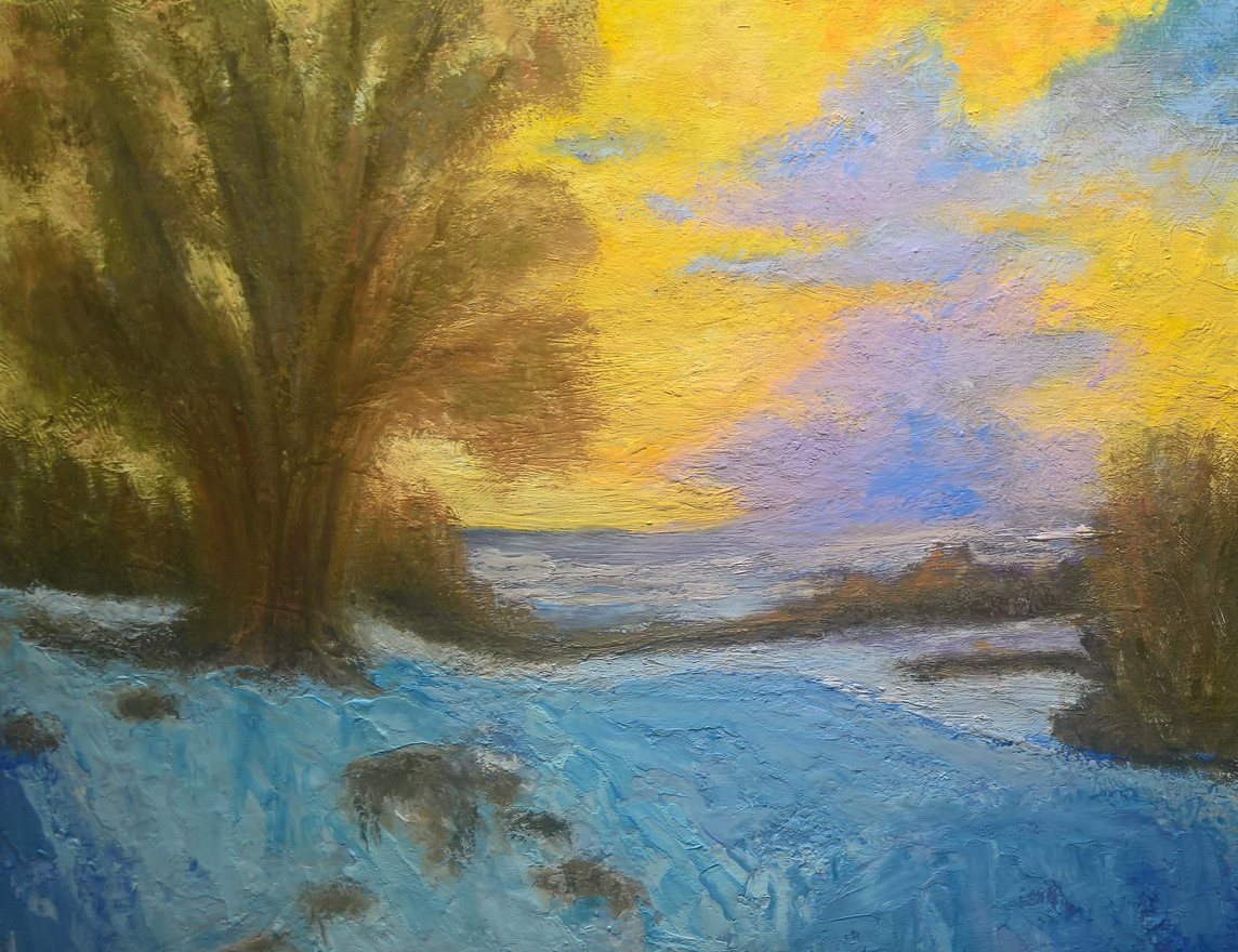 Sunrise and Snow in Cold Wax and Oils  11x14  $300.00