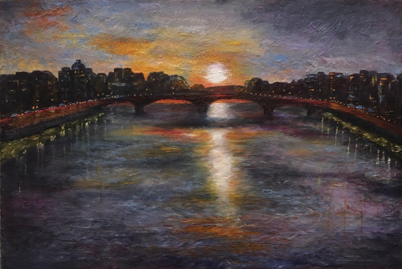 Sunset over the Arno 12x16 Oil and Coldwax  $550
