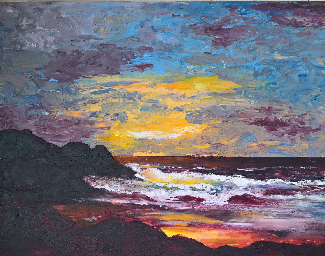 Sunset in Cold Wax and Oils  11x14   $300.00 SOLD