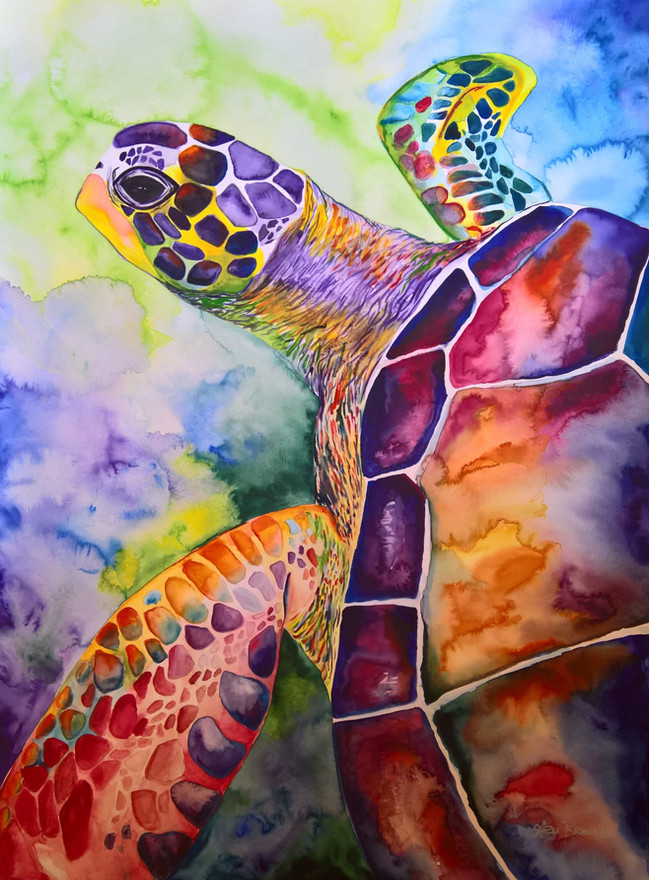 Turtle #3 Watercolor 22x30 $500 SOLD
