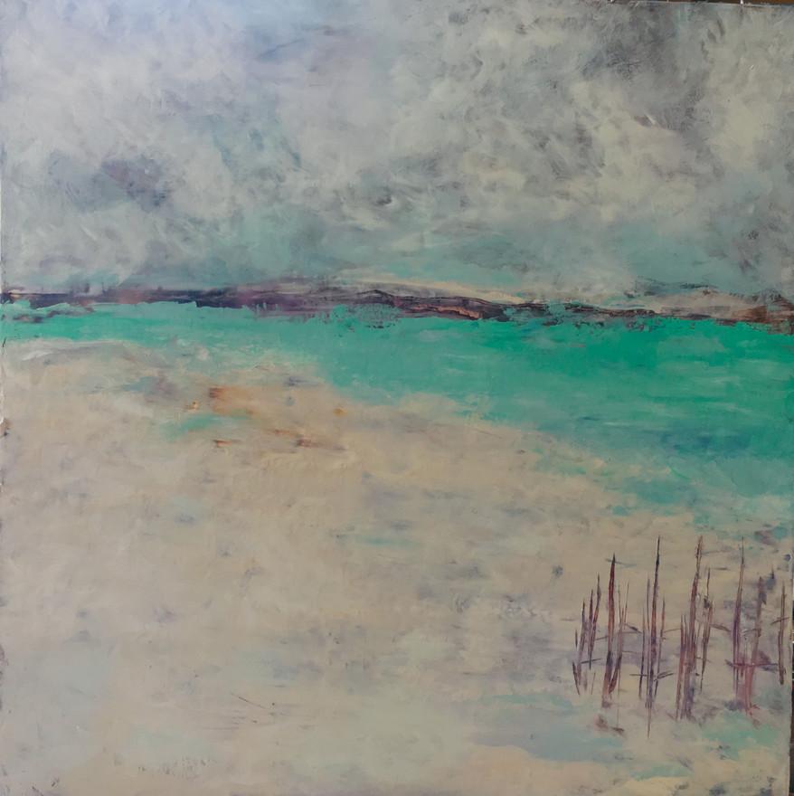 Stillness, 15x15, Oil and Cold Wax on Birch $600