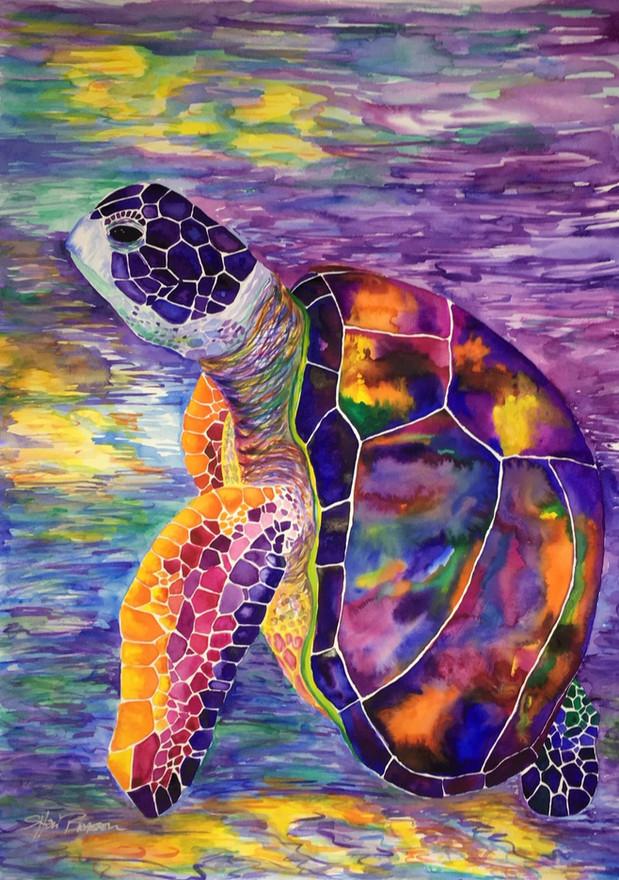 Rainbow Turtle Watercolor 22x30 $500