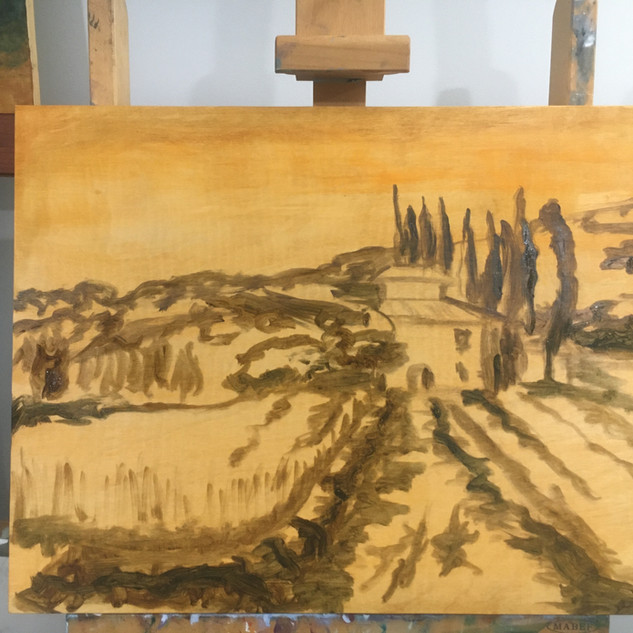 The Villa (Oil on Birch.  In progress)l