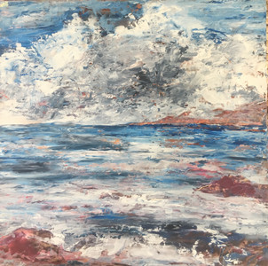 Stormy Clouds and Sea, 15x15, Oils and Cold Wax on Birch, $600