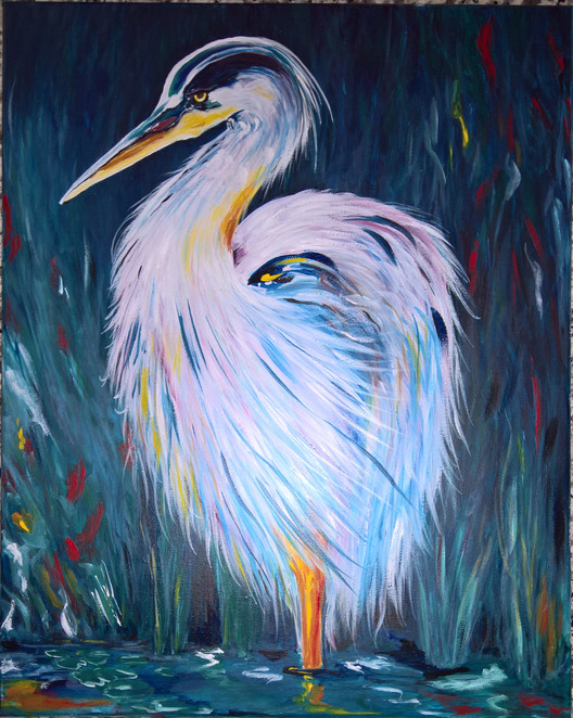 Heron#3 Oil 16x20  $350.00