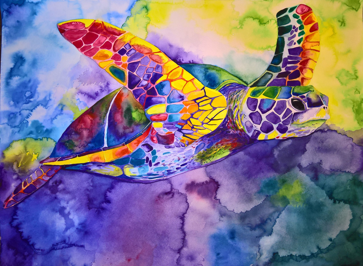 Turtle #4 Watercolor 22x33    $500