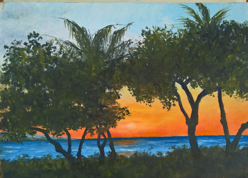 Kaanapali Sunset Between the Trees  8x10 $250