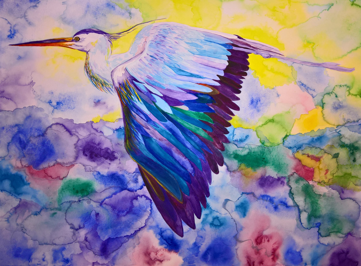 Heron #2 Watercolor 22x30