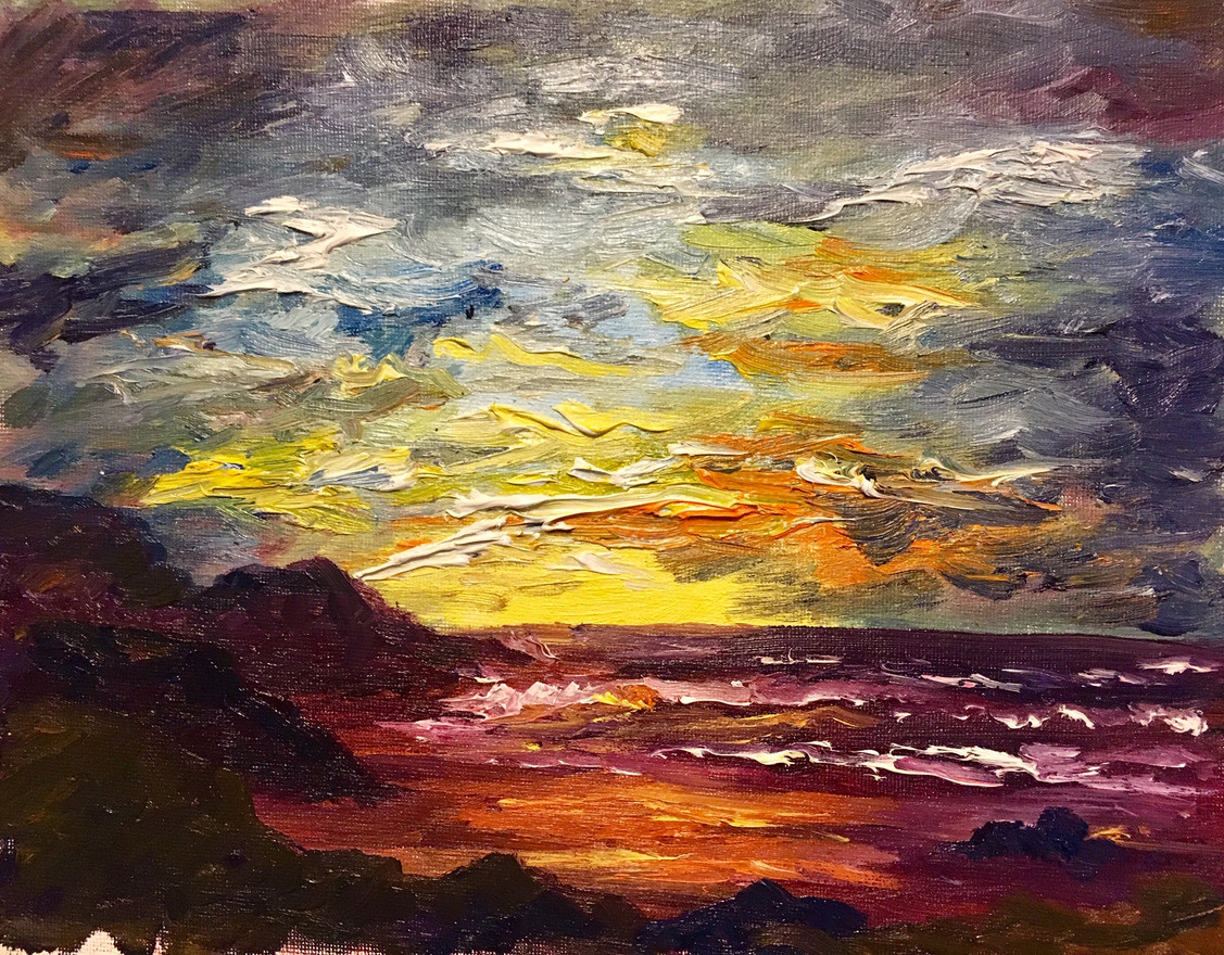 Sunset over Red Beach 8x10 $250