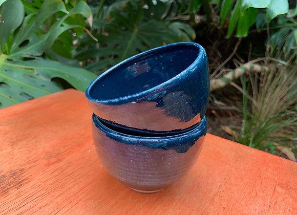 bowls - dark blue / aqua  pair
